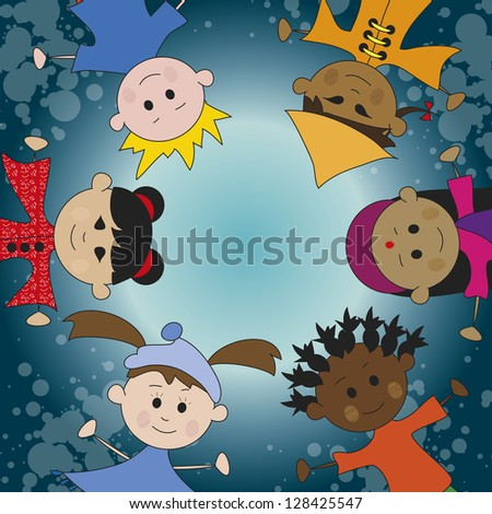 illustration of children of different culture - stock photo