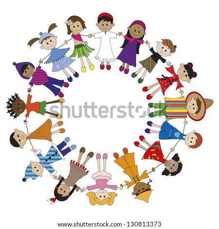 illustration of children of different nationalities - stock photo