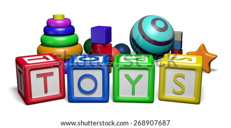 """Illustration of children's toys and toy blocks spelling the word """"Toys"""" - stock photo"""