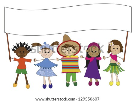illustration of children with banner - stock photo
