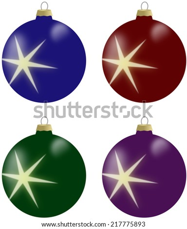 Illustration of christmas balls with star in 4 colours - blue, burgundy, green and violet - stock photo