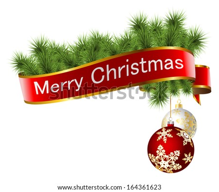 Illustration of Christmas decorations with ribbon and toys isolated on white background.  - stock photo
