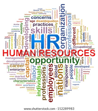 Illustration of circular design presentation of wordcloud word tags of hr human resources. - stock photo