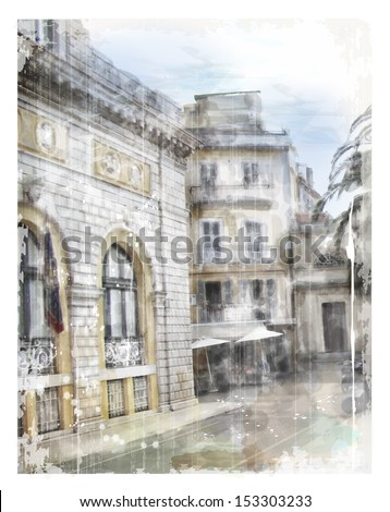 Illustration of city street. Watercolor style. - stock photo