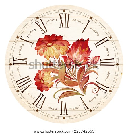 Illustration of clock face as part of watch with pointers, isolated on white background. - stock photo