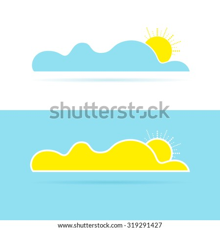 Illustration of cloud with sun. Greeting element. Sunny background and postcard template - stock photo