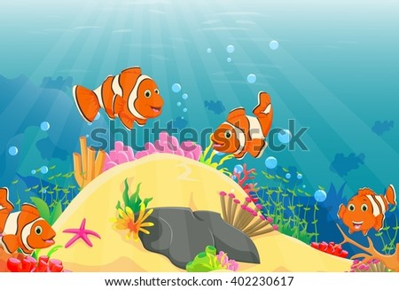 Illustration of clown fish swimming in a deep underwater - stock photo
