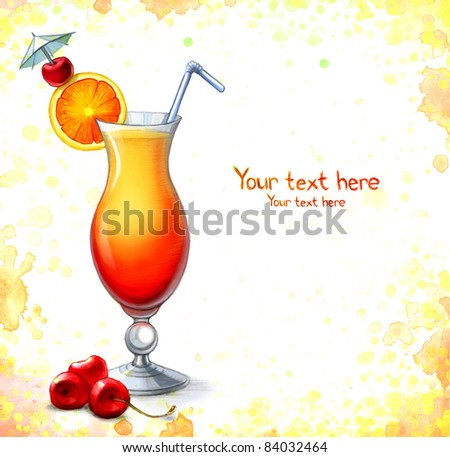 Illustration of cocktail - stock photo