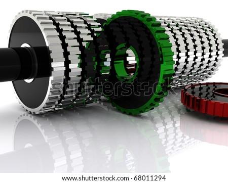 illustration of cog wheels showing team work - stock photo