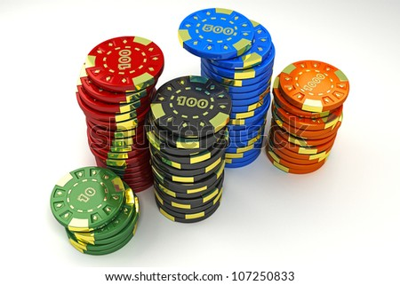 illustration of colorful casino token of different value - stock photo