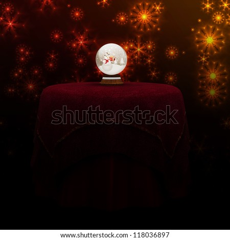 Illustration of colorful christmas ball on red table background. - stock photo