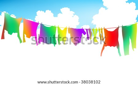 Illustration of colorful clothes on a washing line - stock photo
