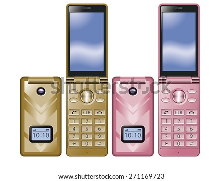 Illustration of colorful Flip Phone. Simple design./ Gold, Pink. - stock photo