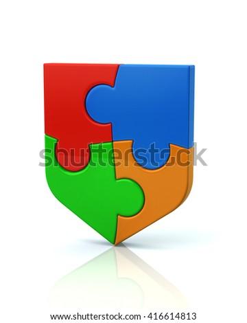 Illustration of colorful puzzle shield icon isolated on white background - stock photo
