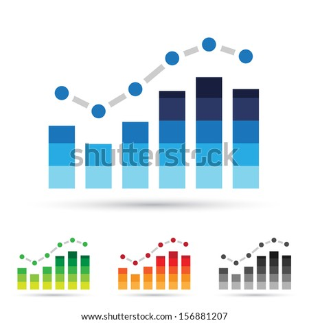 illustration of colorful stats icons - stock photo