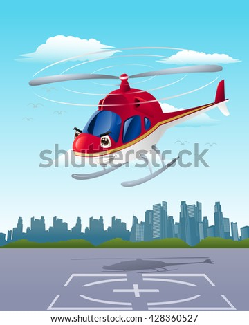illustration of commercial red helicopter on hangar background - stock photo