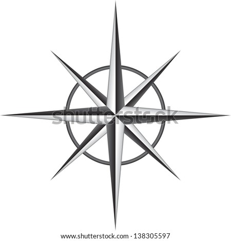 Illustration of compass rose - stock photo