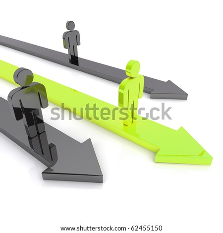 Illustration of competition with business guys and arrows (green) - stock photo