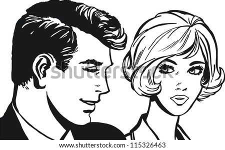 Illustration of couple of lovers - stock photo