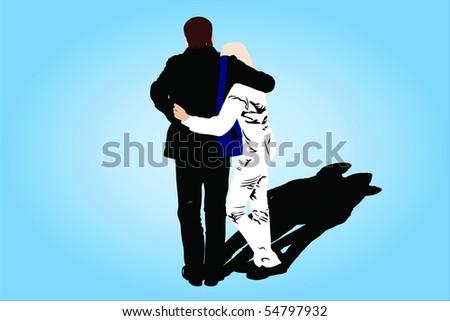 illustration of couple under the dark background - stock photo