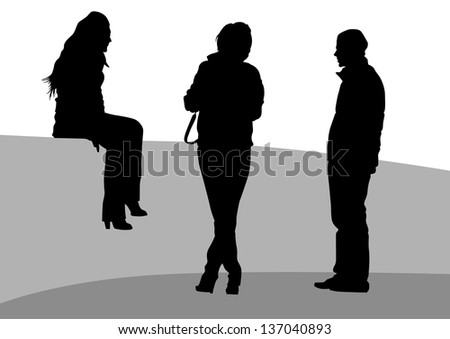 illustration of crowd of young girls and boys - stock photo