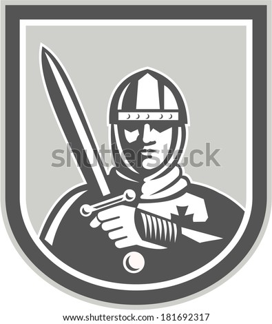 Illustration of crusader knight in full armor brandishing a sword set inside shield crest facing front on isolated background done in retro style. - stock photo