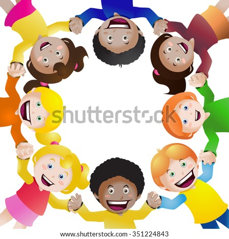 illustration of  cultural children holding hands in circle on isolated white background - stock photo