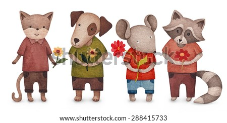 Illustration of cute animals  - stock photo