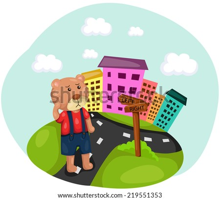 illustration of cute bear lost direction  - stock photo