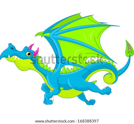 Illustration of Cute Cartoon  dragon flaying. Raster version.  - stock photo