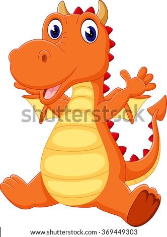 illustration of cute dragon cartoon - stock photo