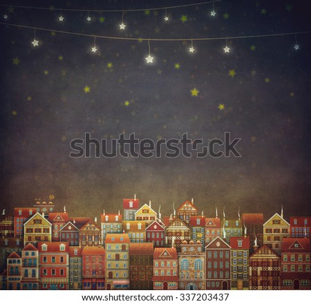 Illustration of  cute houses in night sky - stock photo