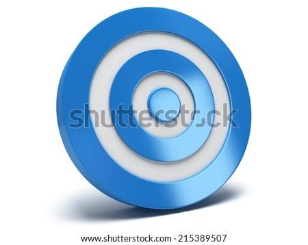 Illustration of 3d blue darts target isolated on white back - stock photo