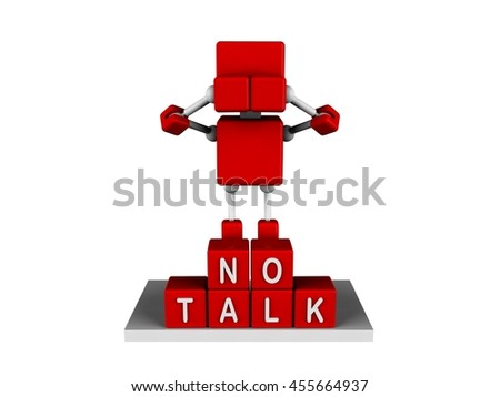 illustration of 3d character red cube closed his ear, isolated white background - stock photo