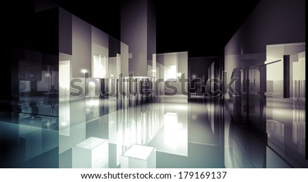 illustration of 3d image of empty wall for display - stock photo