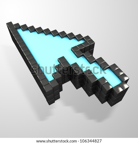 illustration of 3d image of mouse pointer against abstract background - stock photo