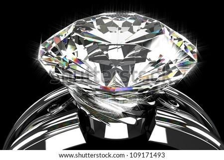 illustration of 3d image of shiny diamond ring - stock photo