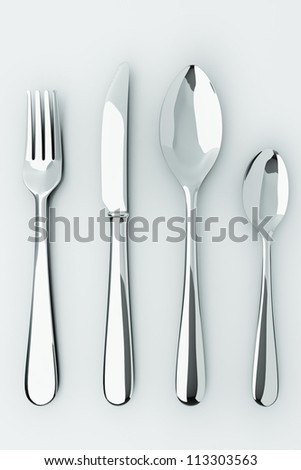 illustration of 3d image of stainless steel cutlery set - stock photo