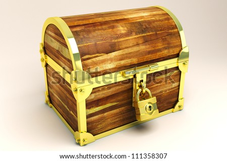 illustration of 3d image of treasure chest - stock photo