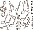 Illustration of 3d notes and clefs - hand drawn style - stock photo