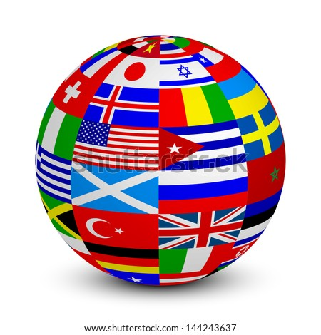 Illustration of 3d sphere with world flags - stock photo