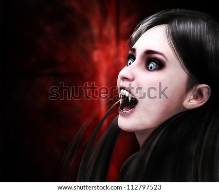 Illustration of 3d vampire girl on red background. - stock photo