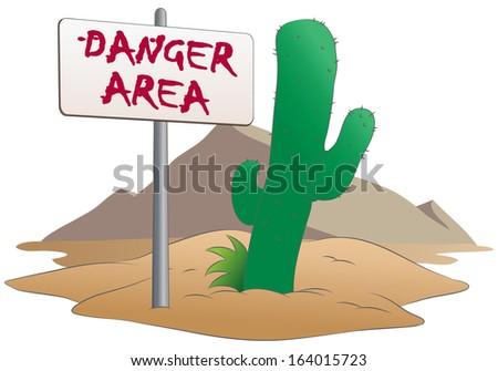 illustration of danger area sign in desert background on isolated white background - stock photo