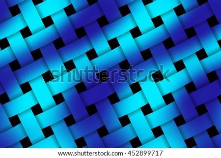 Illustration of dark blue and light blue weaved pattern - stock photo