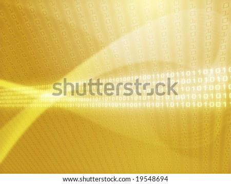 Illustration of data flows with ones and zeroes - stock photo