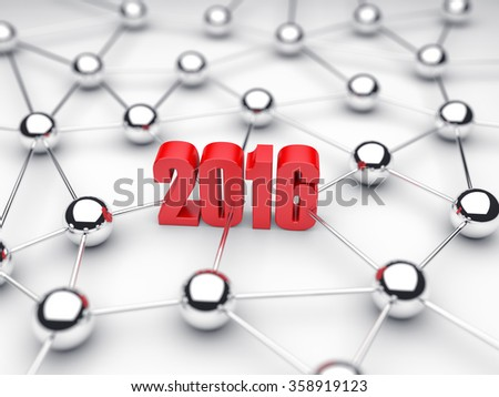 Illustration of 2016 date in technology of communications - stock photo