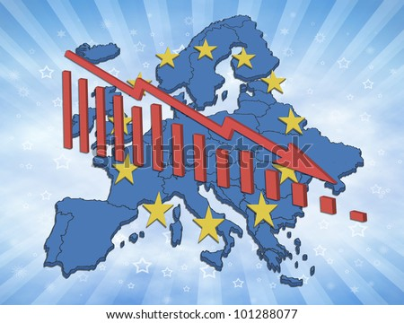 Illustration of declining trends in the European Union and the Euro. European map with symbols and declining diagram. - stock photo