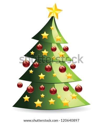 Illustration of decorated abstract Christmas tree on white background. - stock photo
