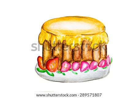 Illustration of delicious cake - stock photo