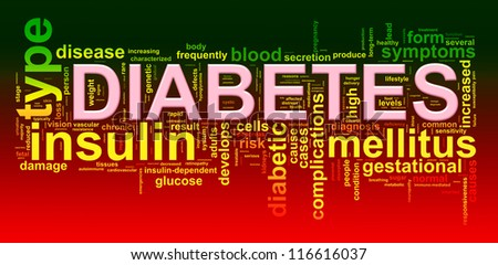 Illustration of diabetes word tags wordcloud - stock photo